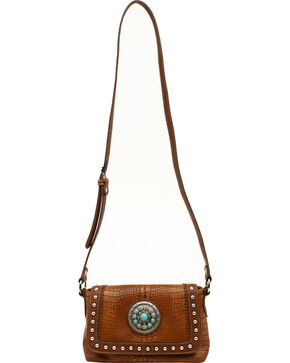 Blazin Roxx Charlotte Collection Concho Crossbody Purse, Brown, hi-res