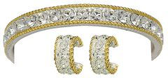 Montana Silversmiths Silver and Gold Roped Rhinestone Bracelet & Earrings Set, , hi-res