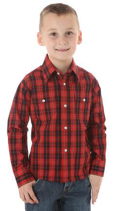Wrangler Boys' Wrinkle Resist Black & Red Plaid Shirt, , hi-res