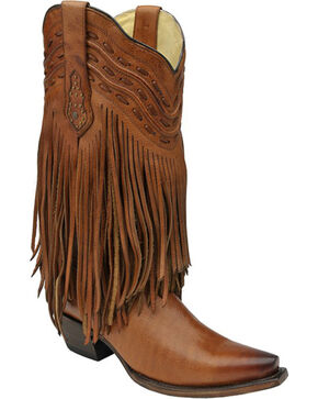 Corral Tan Fringe and Whip Stitch Cowgirl Boots - Snip Toe , Tan, hi-res