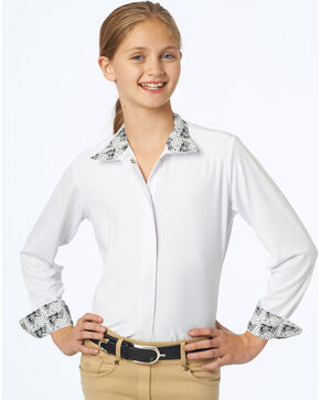 Ovation Girls' Ellie CHD Tech Show Shirt ponies, Black, hi-res