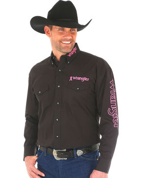 Wrangler Men's Black Western Tough Enough To Wear Pink Logo Long Sleeve Shirt - Big and Tall , Black, hi-res