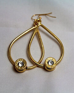 SouthLife Supply Scarlett Bullet Tear Drop Earring in Traditional Gold with Crystal, , hi-res