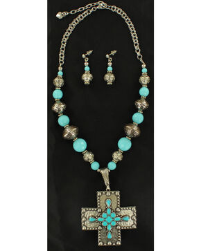 Blazin Roxx Turquoise Center Stone Cross Necklace & Earrings Set, Silver, hi-res