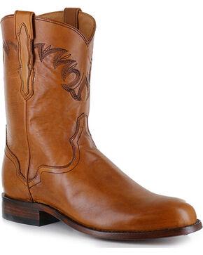 El Dorado Men's Tan Embroidered Western Boots - Round Toe , Tan, hi-res