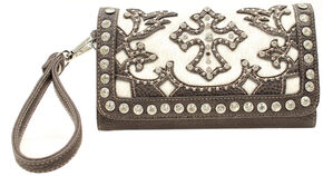Blazin Roxx Cross Applique Rhinestone Hair on Hide Wallet Clutch, Cream, hi-res