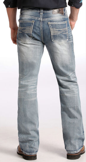 Rock and Roll Cowboy Light Wash Double Barrel Relaxed Bootcut Jeans, Indigo, hi-res