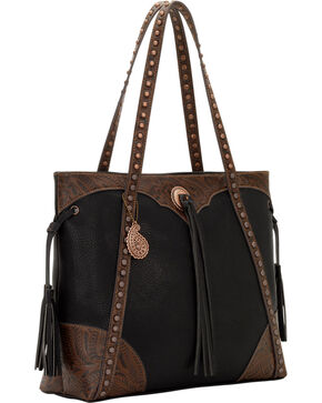Bandana by American West Jackson Hole Large Shopper Zip Top Tote, Black, hi-res