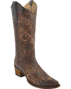 Circle G Women's Filigree Cowgirl Boots - Snip Toe, , hi-res