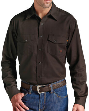 Ariat Men's Flame Resistant Work Snap Shirt - Big and Tall, Coffee, hi-res