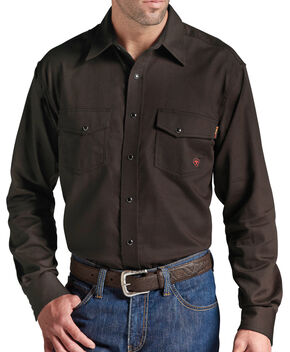 Ariat Men's Flame-Resistant Coffee Work Shirt, Coffee, hi-res