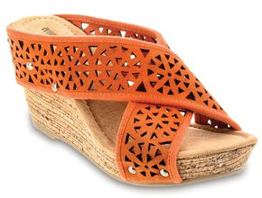 Minnetonka Lainey Orange Strap Sandals, Orange, hi-res