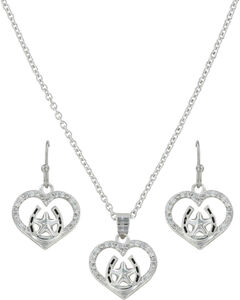 Montana Silversmiths Women's Star Of My Heart Horseshoe Jewelry Set , , hi-res