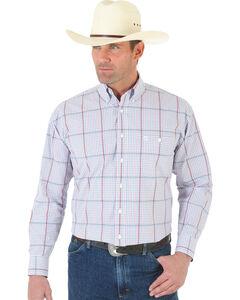Wrangler George Strait White and Wine Plaid Poplin Shirt , , hi-res
