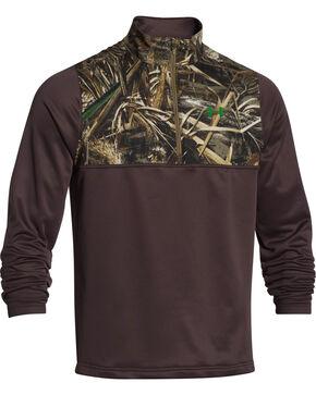 Under Armour Men's Caliber 1/4-Zip Fleece Pullover, Brown, hi-res