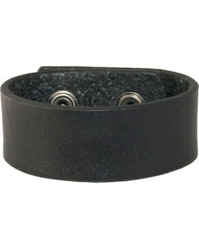 Stetson Men's Plain Leather Wristband, Black, hi-res