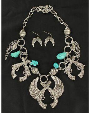 Blazin Roxx Winged Pistols Necklace & Earrings Set, Silver, hi-res