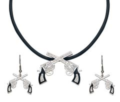 Montana Silversmiths Crossed Pistols Necklace & Earrings Set, , hi-res