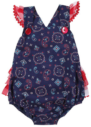 Wrangler Infant Girls' Navy Sleeveless Ruffled Edge Romper, Navy, hi-res
