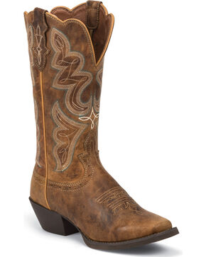 Justin Stampede Light Coffee Cowgirl Boots - Square Toe , Coffee, hi-res
