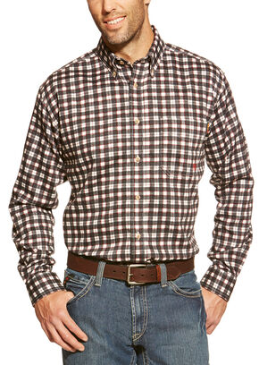 Ariat Flame Resistant Black Plaid Work Shirt, Black, hi-res