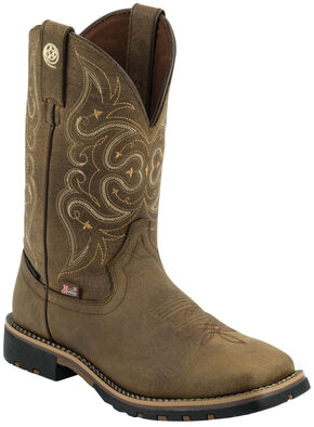 Justin George Strait Women's Brown Waterproof Cowgirl Boots - Square Toe , Barnwood, hi-res