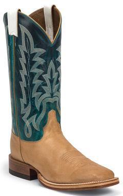 Justin Men's Ranch Collection Cognac Hammer Cowboy Boots - Square Toe , , hi-res