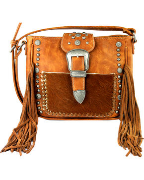 Montana West Trinity Ranch Belt Buckle Crossbody Handbag, Brown, hi-res