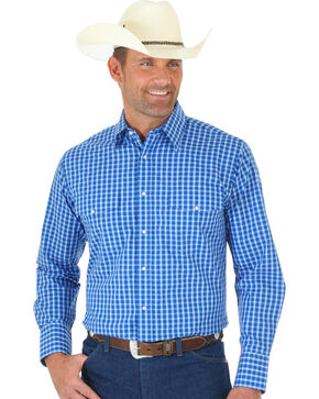 Wrangler Wrinkle Resist Men's Blue Plaid Western Shirt , Blue, hi-res