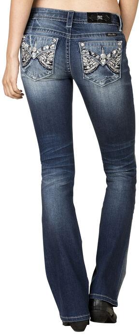 Miss Me Women's Black & White Feather Flap Pocket Bootcut Jeans , Blue, hi-res
