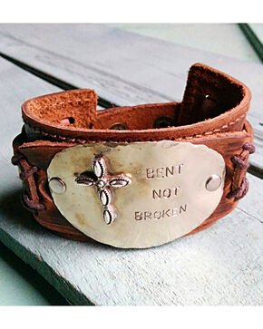 "Jewelry Junkie ""Bent Not Broken"" Cuff Bracelet, Brown, hi-res"