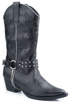 Roper Girls' Black Bling Chain Cowgirl Boots - Pointed Toe, , hi-res