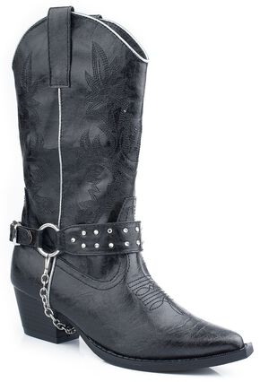 Roper Girls' Black Bling Chain Cowgirl Boots - Pointed Toe, Black, hi-res