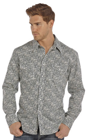 Rock & Roll Cowboy Men's Green Crinkle Poplin Paisley Print Shirt , Green, hi-res