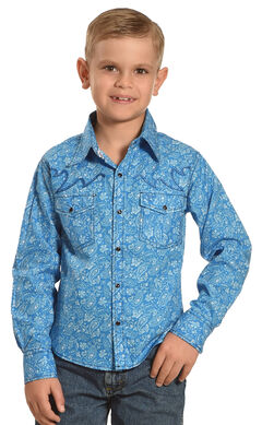 Cowboy Hardware Boys' Blue Range Paisley Print Shirt , , hi-res