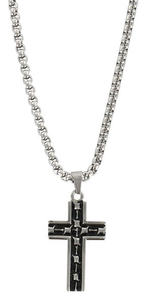 Moonshine Spirit Men's Barbwire Cross Necklace, Silver, hi-res