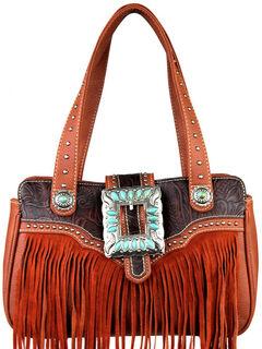 Montana West Trinity Ranch Brown Fringe Design Handbag, , hi-res