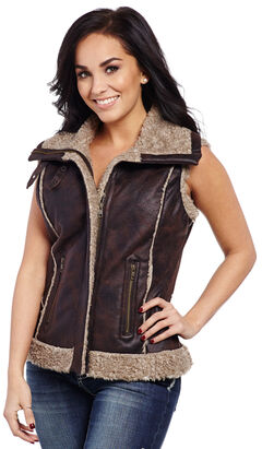 Cripple Creek Women's Faux Leather Fur Trim Vest , , hi-res