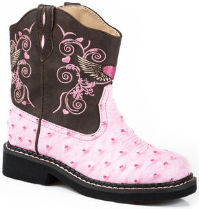 Roper Youth Girls' Pink Flying Heart Chunk Cowgirl Boots - Square Toe , Pink, hi-res