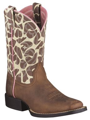 Ariat Girls' Animal Print Quickdraw Cowgirl Boots - Square Toe, Brown, hi-res