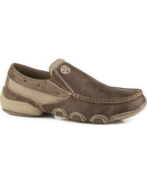 Roper Men's Tan Driving Moc Boat Shoes, Tan, hi-res