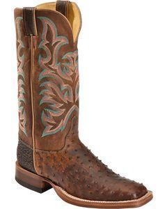 Justin AQHA Jurassic Full Quill Ostrich Cowboy Boots - Square Toe, , hi-res