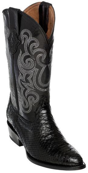 Ferrini Men's Python Cowboy Boots - Round Toe, Black, hi-res