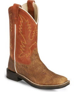 Old West Youth Vintage Tan Cowboy Boot - Square Toe, , hi-res