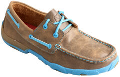 Twisted X  Women's Brown and Neon Blue Driving Mocs, , hi-res