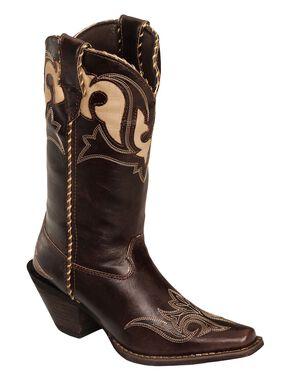 Durango Faux Leather Peek-A-Boot Inlay Cowgirl Boots - Square Toe, Dark Brown, hi-res