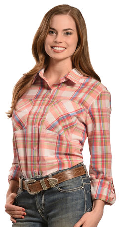 New Direction Sport Women's Pink Plaid Western Shirt, , hi-res