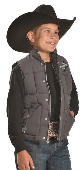Cowboy Hardware Boys' Grey Too Tough Western Vest , Steel, hi-res