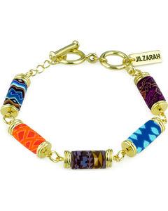 Jilzarah Santa Fe Tube Bead Gold Bracelet, , hi-res