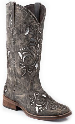 Roper Fancy Silver Inlay Cowgirl Boots - Square Toe, , hi-res